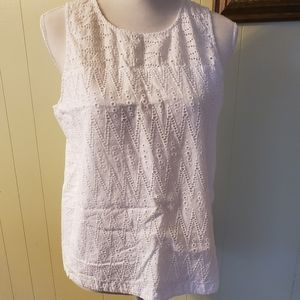 J crew white tank top back keyhole
